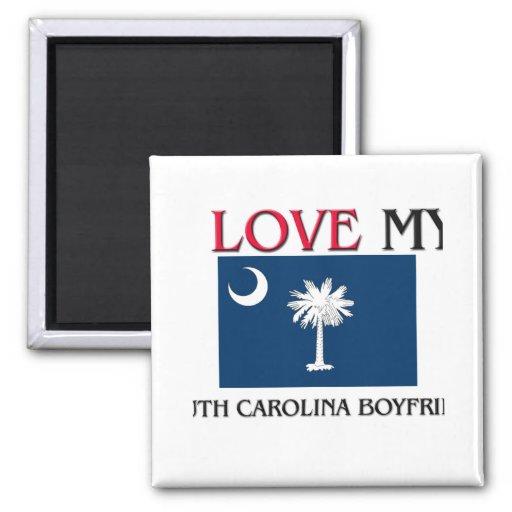 I Love My South Carolina Boyfriend 2 Inch Square Magnet
