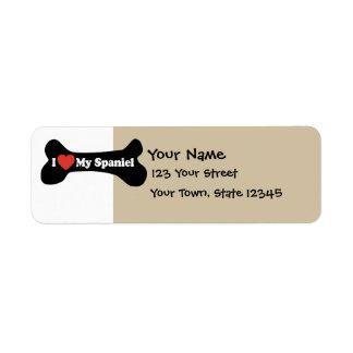 I Love My Spaniel - Dog Bone Custom Return Address Labels
