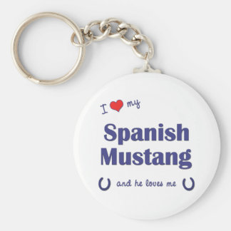 I Love My Spanish Mustang (Male Horse) Basic Round Button Keychain