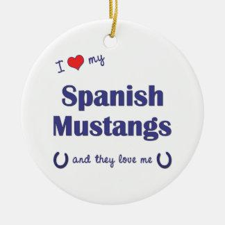 I Love My Spanish Mustangs (Multiple Horses) Christmas Ornament