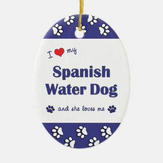 I Love My Spanish Water Dog (Female Dog) Christmas Tree Ornament