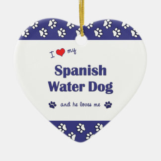 I Love My Spanish Water Dog (Male Dog) Christmas Tree Ornaments