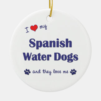I Love My Spanish Water Dogs (Multiple Dogs) Christmas Ornaments