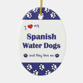 I Love My Spanish Water Dogs (Multiple Dogs) Christmas Tree Ornament