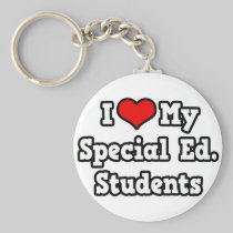 I Love My Special Ed. Students Basic Round Button Keychain
