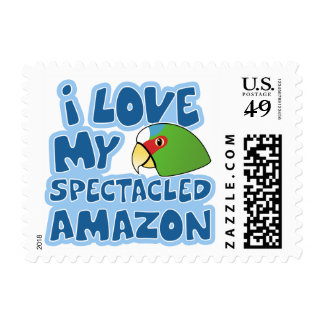 I Love my Spectacled Amazon Stamps