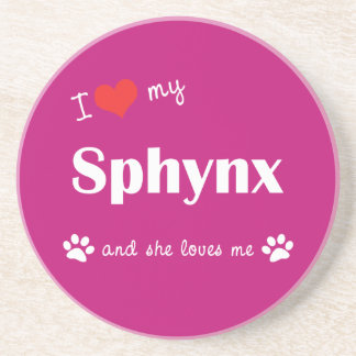 I Love My Sphynx (Female Cat) Beverage Coaster