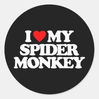 I LOVE MY SPIDER MONKEY CLASSIC ROUND STICKER