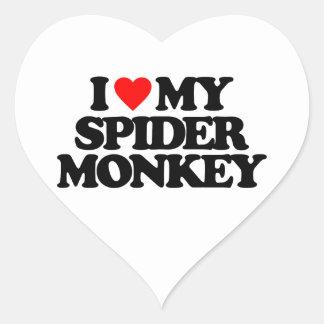 I LOVE MY SPIDER MONKEY HEART STICKER