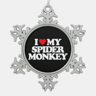 I LOVE MY SPIDER MONKEY SNOWFLAKE PEWTER CHRISTMAS ORNAMENT