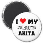 I love my spoiled rotten Akita Refrigerator Magnets