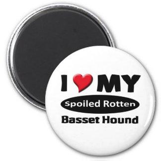 I love my spoiled rotten Basset Hound Fridge Magnet