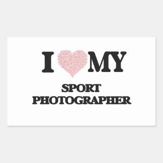 I love my Sport Photographer (Heart Made from Word Rectangular Sticker