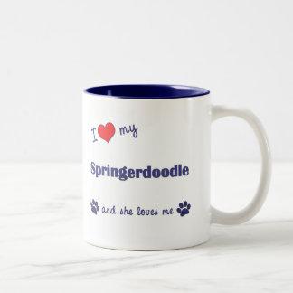 I Love My Springerdoodle (Female Dog) Two-Tone Coffee Mug