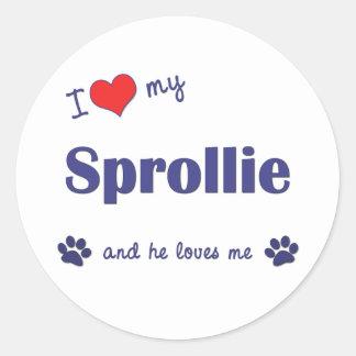I Love My Sprollie Male Dog Round Stickers