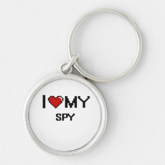I love my Spy Silver-Colored Round Keychain