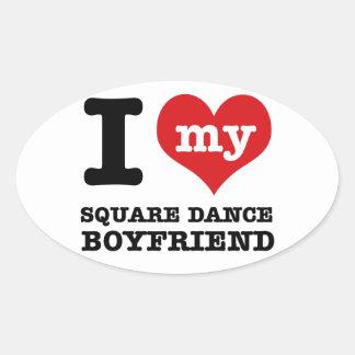 I love my square Boyfriend Oval Sticker