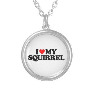 I LOVE MY SQUIRREL ROUND PENDANT NECKLACE