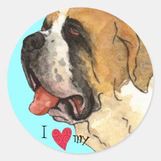 I Love my St. Bernard Classic Round Sticker