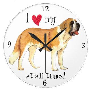 I Love my St. Bernard Large Clock