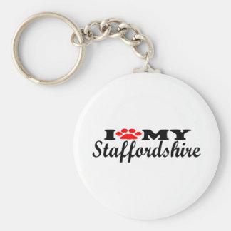 I Love My Staffordshire Basic Round Button Keychain