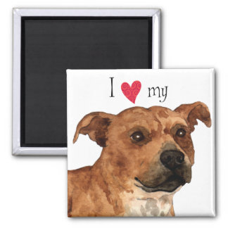 I Love my Staffordshire Bull Terrier 2 Inch Square Magnet