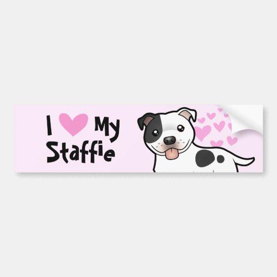 I Love My Staffordshire Bull Terrier Bumper Sticker