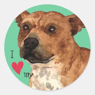 I Love my Staffordshire Bull Terrier Classic Round Sticker