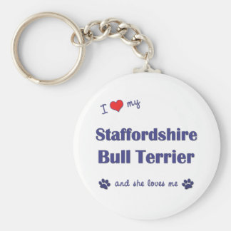 I Love My Staffordshire Bull Terrier (Female Dog) Basic Round Button Keychain