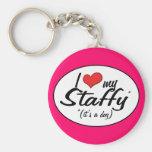 I Love My Staffy (It's a Dog) Key Chain