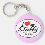 I Love My Staffy (It's a Dog) Keychains