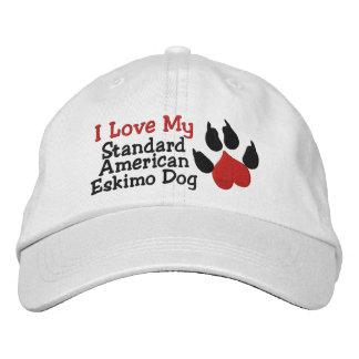I Love My Standard American Eskimo Dog Paw Print Cap