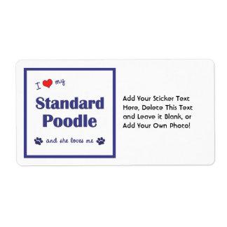 I Love My Standard Poodle (Female Dog) Label
