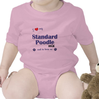 I Love My Standard Poodle Mix (Male Dog) Baby Bodysuits