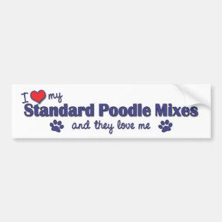 I Love My Standard Poodle Mixes (Multiple Dogs) Car Bumper Sticker