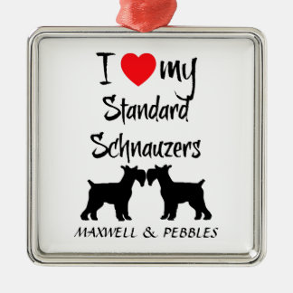I Love My Standard Schnauzer Dogs Metal Ornament