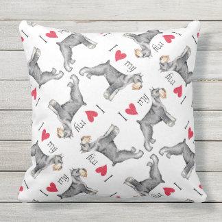 I Love my Standard Schnauzer Throw Pillow