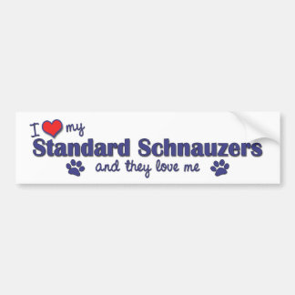 I Love My Standard Schnauzers (Multiple Dogs) Bumper Sticker