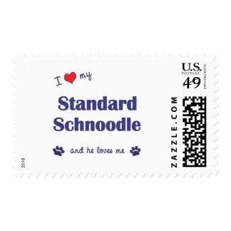 I Love My Standard Schnoodle (Male Dog) Postage