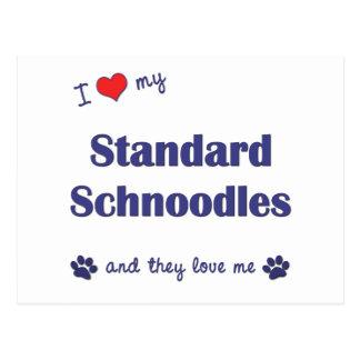 I Love My Standard Schnoodles (Multiple Dogs) Postcard