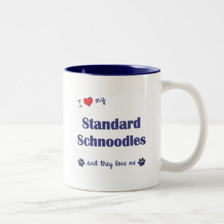 I Love My Standard Schnoodles (Multiple Dogs) Two-Tone Coffee Mug