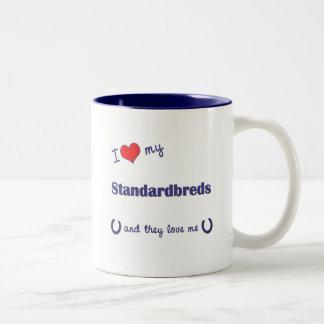 I Love My Standardbreds (Multiple Horses) Two-Tone Coffee Mug