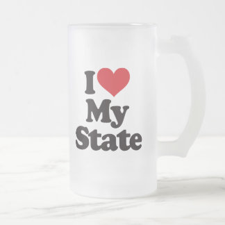 I Love My State Frosted Glass Beer Mug
