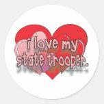 I LOVE MY STATE TROOPER ROUND STICKERS