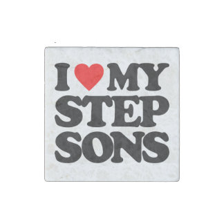 I LOVE MY STEP SONS STONE MAGNET