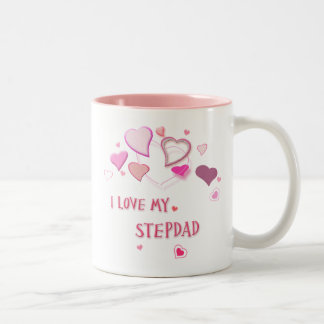 I Love my Stepdad - Cute Pink Lovehearts Mug