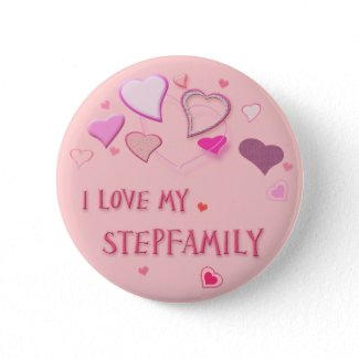 I Love my Stepfamily - Cute Pink Lovehearts Badge button