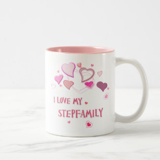 I Love my Stepfamily - Cute Pink Lovehearts Mug