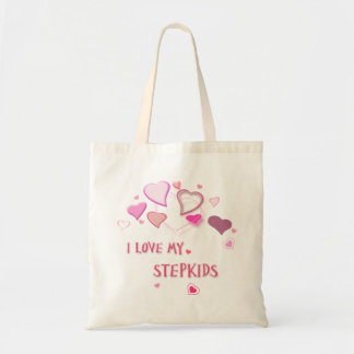 I Love my Stepkids - Cute Pink Lovehearts Tote