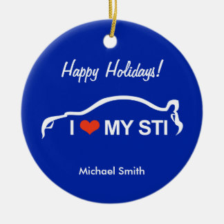 I Love My STI - Subaru WRX Impreza Ceramic Ornament